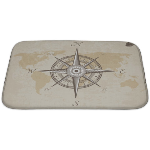Silver Vintage Nautical Compass Old Map Paper Torn Border Frame Wind Bath Rug Mat- Free Shipping