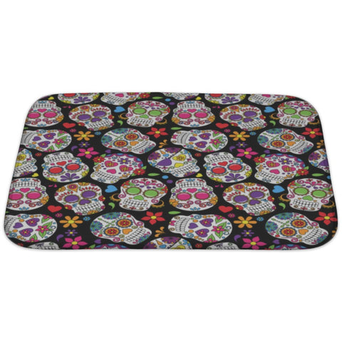 Day Of The Dead Sugar Skull Bath Rug Mat- Free Shipping
