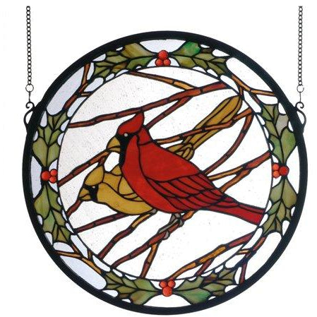 Cardinals & Holly Medallion Stained Glass Window- Free Shipping