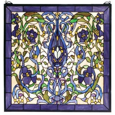 Floral Fantasy Stained Glass Window- Free Shipping