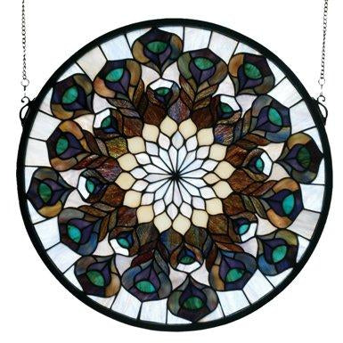 Tiffany Peacock Feather Medallion Stained Glass Window- Free Shipping