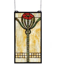 Parker Poppy Stained Glass Window- Free Shipping