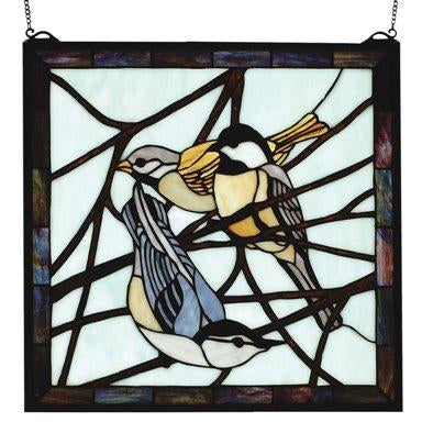 Early Morning Visitors Backyard Friends Square Stained Glass Window- Free Shipping