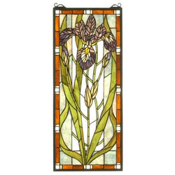 Iris Stained Glass Window- Free Shipping