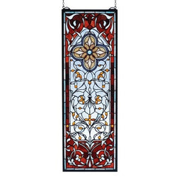 Versaille Quatrefoil Stained Glass Window 11 Inch W X 32 Inch H- Free Shipping