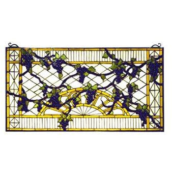 Grape Diamond Trellis Stained Glass Window- Free Shipping Check Photo