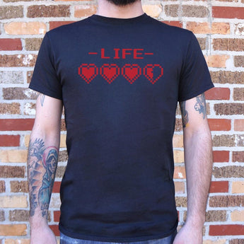 8-Bit Life Hearts T-Shirt Mens- Free Shipping