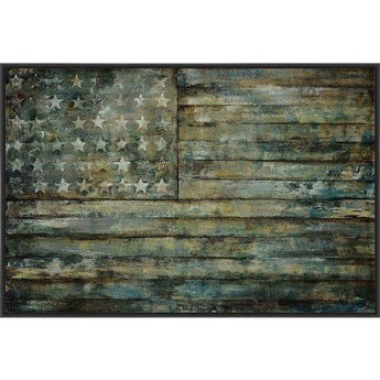 AGED GLORY 22L X 28H Floater Framed Art Giclee Wrapped Canvas- Free Shipping