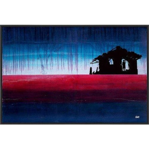 A NEW DAWN 22L X 28H Floater Framed Art Giclee Wrapped Canvas- Free Shipping