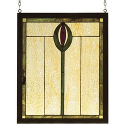 Spear Wood Frame Stained Glass Window 14 Inch W X 17 Inch H- Free Shipping