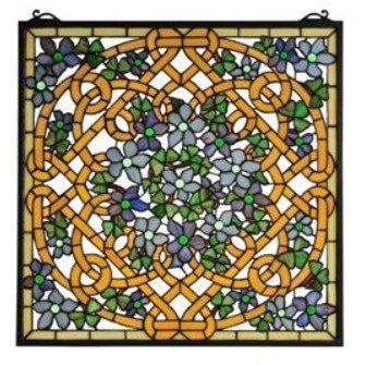 Shamrock Garden Stained Glass Window- Free Shipping