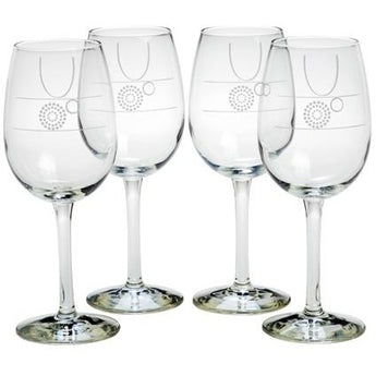 Wine Glasses with Portion Control & Fill Lines Set of 4, 10 oz. by Livliga- Free Shipping