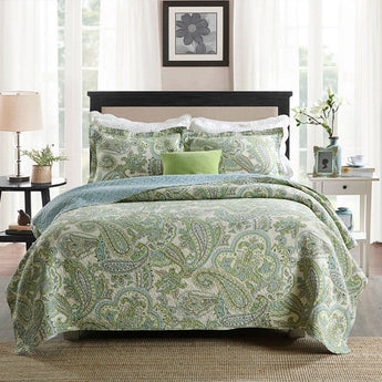 Queen size 3-Piece 100-Percent Cotton Bedspread Quilt Set with Green Paisley Pattern