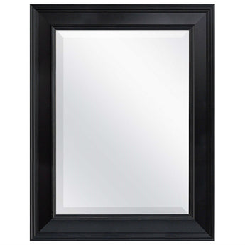 Black 27.5 x 21.5 inch Beveled Bathroom Mirror with Wall Hangers