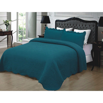 California King 3-Piece 100% Cotton Quilted Bedspread with Shams in Turquoise