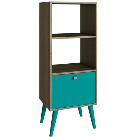 Modern Bookcase with Mid-Century Style Wood Legs in Oak Aqua Finish
