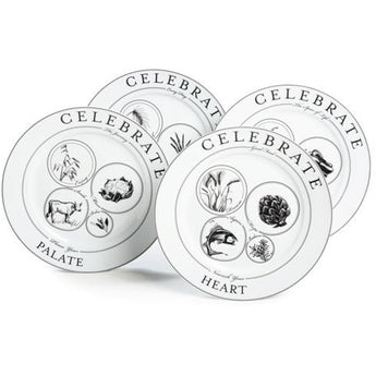 "Celebrate Get Started Kit: 4 Portion Control Dinner Plates (10.5"") by Livliga"