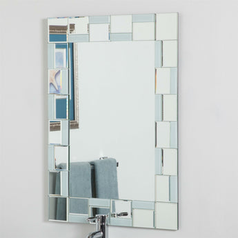 Contemporary 31.5 x 23.6 inch Rectangle Bathroom Mirror with hand cut Mirrors Edging