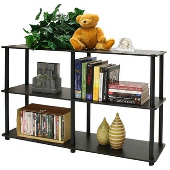 3-Tier Storage Display Shelf/Rack Bookcase in Espresso/Black