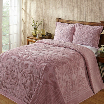 Full size 100-Percent Cotton Chenille Bedspread in Pink - Machine Washable
