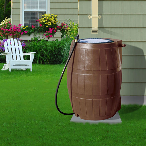 50-Gallon Brown UV Resistant Plastic Rain Barrel with 3-Ft Hose and Shutoff Valve