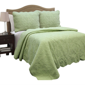 Full Queen Green Cotton Quilt Bedspread with Scalloped Borders
