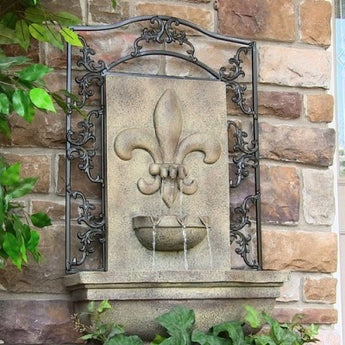 Sunnydaze French Lily Outdoor Wall Fountain- Multiple Colors & Free Shipping