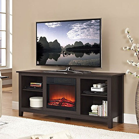 Espresso Wood TV Stand with Electric Fireplace Heater Insert
