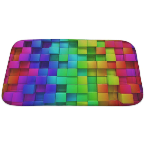 Rainbow Of Colorful Boxes Bath Mat Rug- Free Shipping