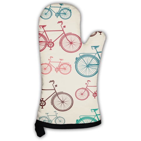 Vintage Bike Elements Pattern Oven Mitt- Free Shipping