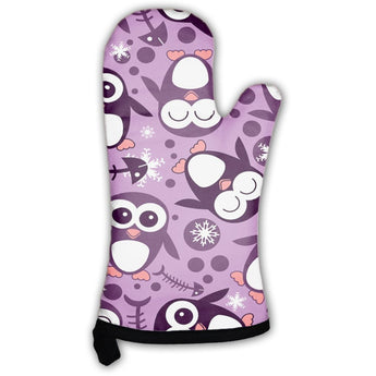 Pattern With Cute Penguins Oven Mitt- Free Shipping