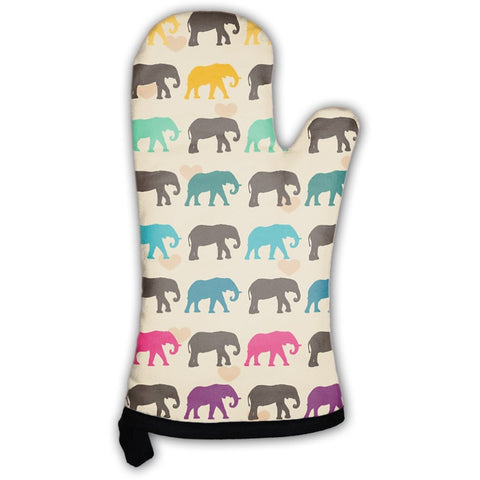 With Colorful Elephants Oven Mitt- Free Shipping