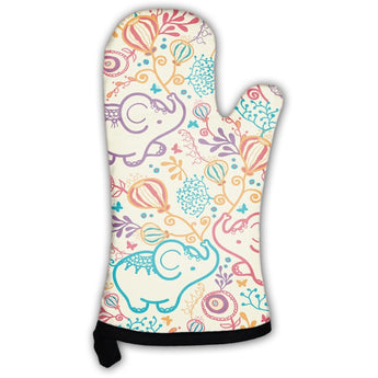 Elephants With Flowers Pattern Oven Mitt- Free Shipping
