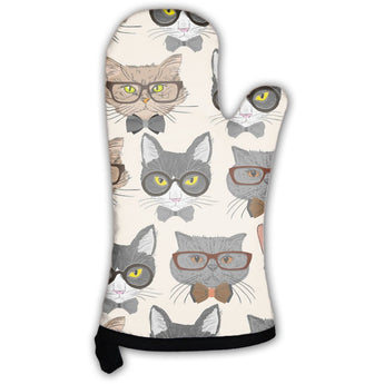 Hipster Cats Pattern Oven Mitt- Free Shipping