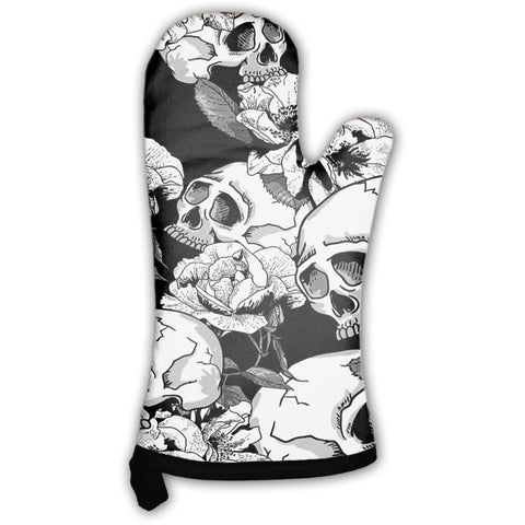 Skull And Flowers Oven Mitt- Free Shipping