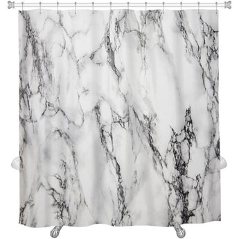 White Marble Shower Curtain- Free Shipping