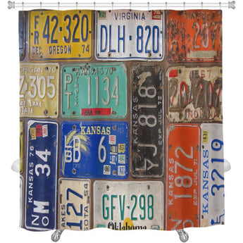 Rusty Retro License Plates Shower Curtain- Free Shipping