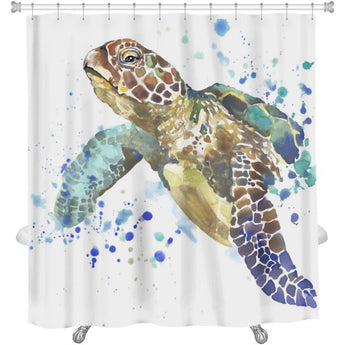 Shower Curtain, Image Of Sea Turtle Tshirt Graphics Sea Turtle With Splash Watercolor