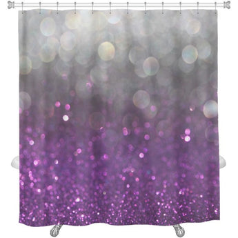 Image Of White Silver & Purple Abstract Bokeh Lights Defocused Shower Curtain - Free Shipping