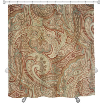 Beige/Tan Paisley Pattern Shower Curtain - Free Shipping