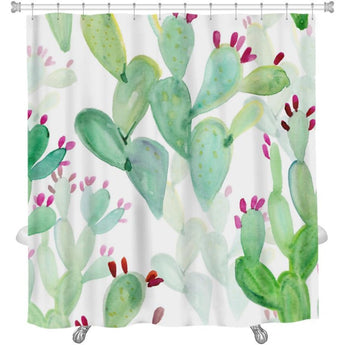 Watercolor Cactus Pattern Shower Curtain- Free Shipping