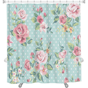 Vintage Pink Flower Pattern On Dots Shower Curtain- Free Shipping