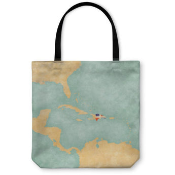 Map Of Caribbean Dominican Republic Tote Bag- Free Shipping