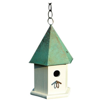 White Wood Bird House with Verdi Green Copper Roof - Made in USA