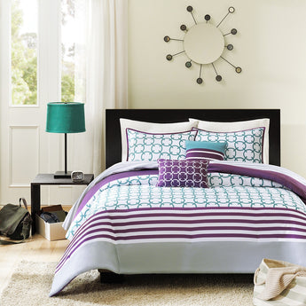 Twin/Twin XL 4-Piece Comforter Set Purple White Teal Circles & Stripes