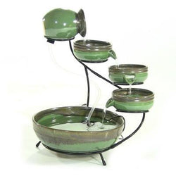 Sunnydaze Green/Sand Ceramic Cascade Solar Fountain- Free Shipping