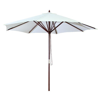 9-Ft Outdoor Patio Market Umbrella with Wood Frame and Natural Canopy