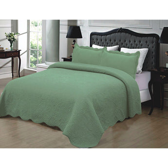 King size 3-Piece Sage Green Quilted Cotton Bedspread with Shams