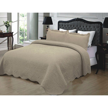 King size 3-Piece Quilted Bedspread Set 100% Cotton in Taupe