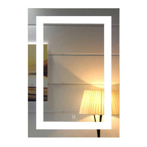 LED Lighted 28 x 20 inch Bathroom Wall Mirror with Touch Switch